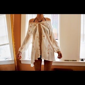 Tops - Bohemian 3/4 Sleeve Tie Neck Embroidery Blouse !